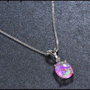 BRAND NEW.925 PINK FIRE OPAL NECKLACE